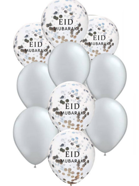 10x  Eid Mubarak  confetti/ Plain Sliver Balloon
