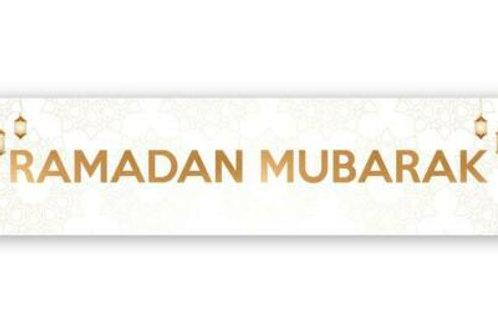 Ramadan Mubarak Double Banner ( Marble Lantern) 2021