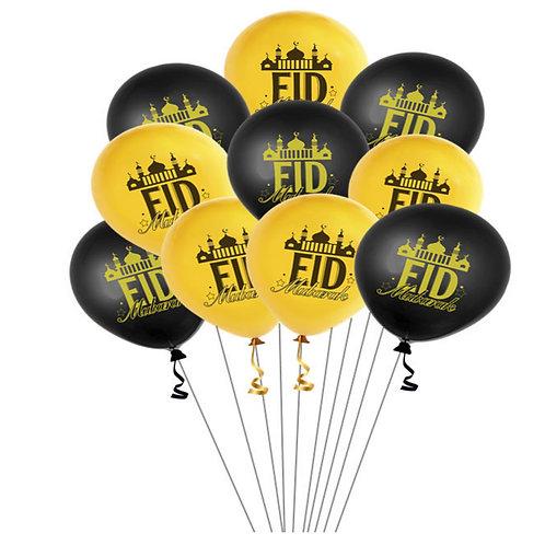 Eid Mubarak Balloons,/ Gold / Black