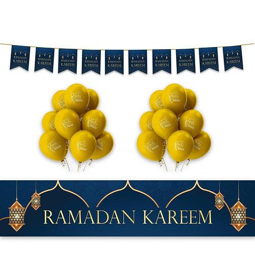 Ramadan Kareem Domes - Lanterns Decoration Set - Blue & Gold