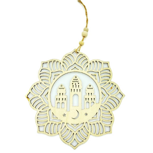 1x Eid Mubarak Ramadan Decorations Wooden Hanging Pendant Plaque