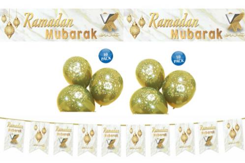 Ramadan Mubarak Decoration Set (White /Gold)