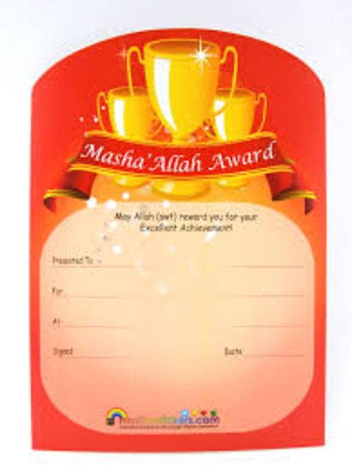 Masha' Allah Award Certificate Pack