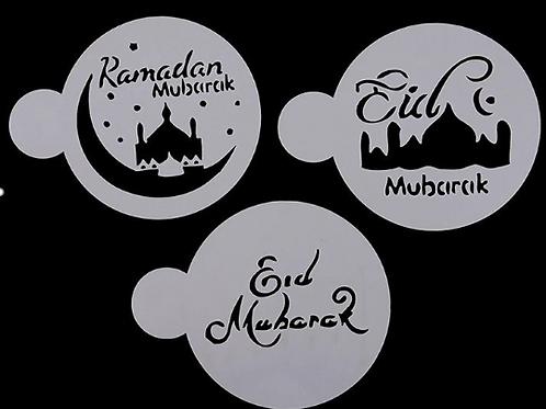 3pcs Eid Mubarak Cookies Stencil Ramadan