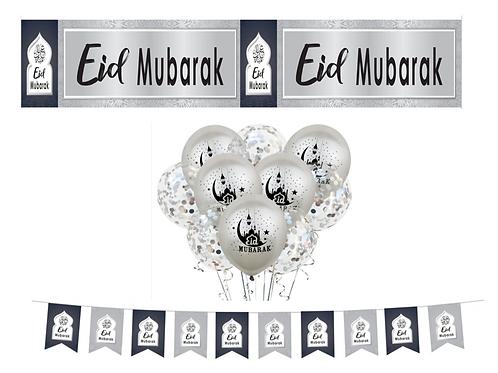 Eid Mubarak Navy & Sliver  Set
