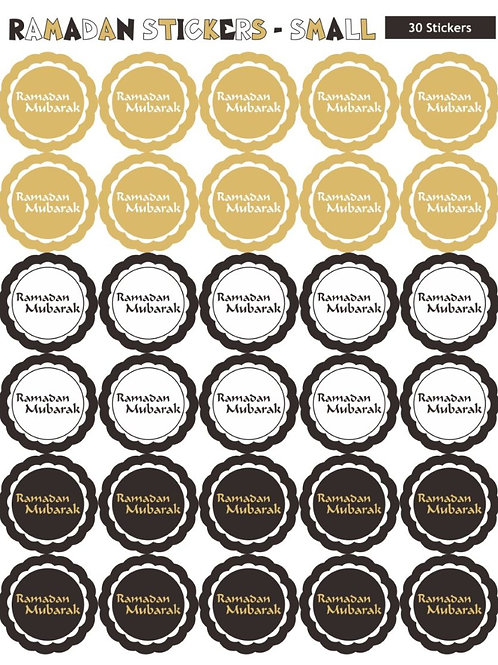 Ramadan Mubarak Round Stickers (60 White/Gold) Stickers