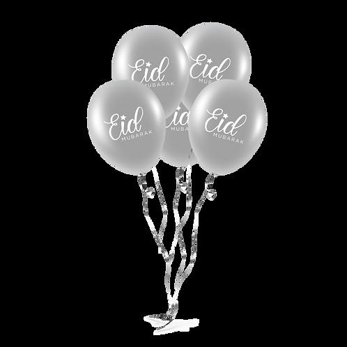 EID Mubarak Balloons (Pack of 10) - Sliver