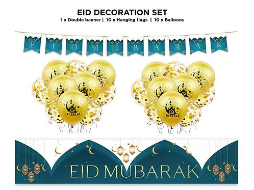 Eid Mubarak Decoration 21 pc (Teal & Gold) Set