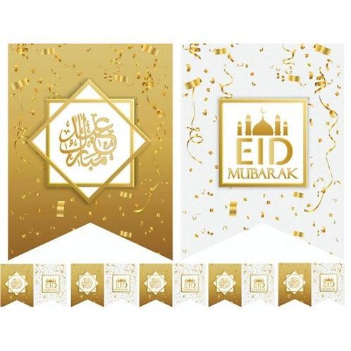 10X Eid Mubarak Flags -White & Gold