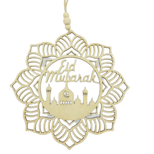1x Eid Mubarak Decorations Wooden Hanging Pendant Plaque