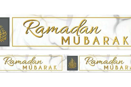 Ramadan Mubarak Double Banner ( Marble )   2021