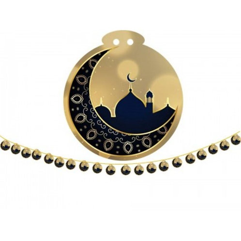 Moon And Mosque-Black & Gold Small