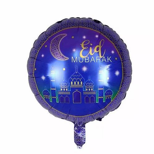 1x Eid Blue Mubarak 16 Inch Balloons