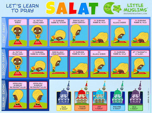 A5 Let's Learn Salat And Surah's Two-Sided poster (Girl)