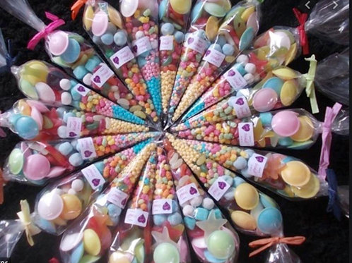 10 Clear Cone Bags Wth Sweets