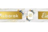 Eid Mubarak Banner-White & Gold Marble