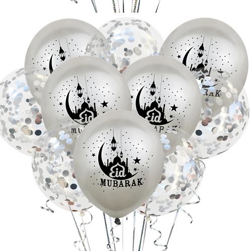 10xEid Mubarak  Sliver and Confetti Balloon