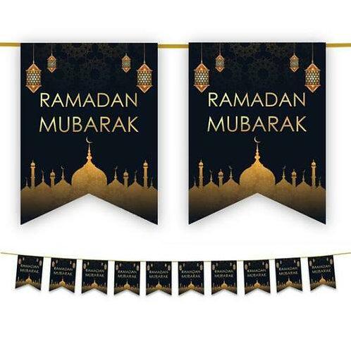 Ramadan Mubarak Bunting (Black & Gold)