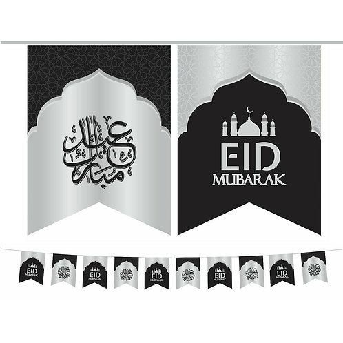 Eid Mubarak Double Bunting ( Black / Sliver ) 2021