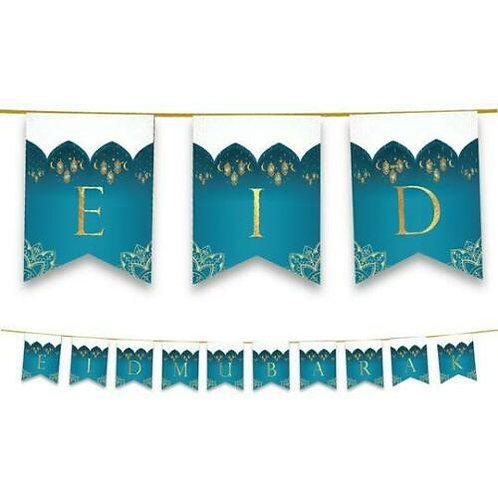 Eid Mubarak- Domes,Star -Lanterns Bunting (Teal & Gold)
