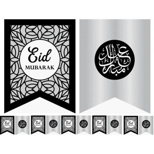 10X FLAGS EID MUBARAK SLIVER & BLACK