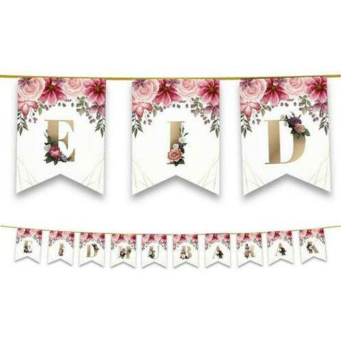 Eid Mubarak - Floral Bunting  (Pink & Gold)