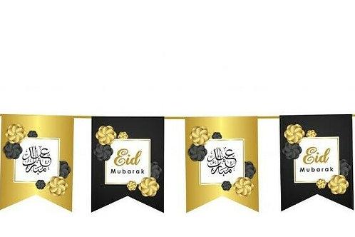 Eid Mubarak Bunting (Black & Gold)