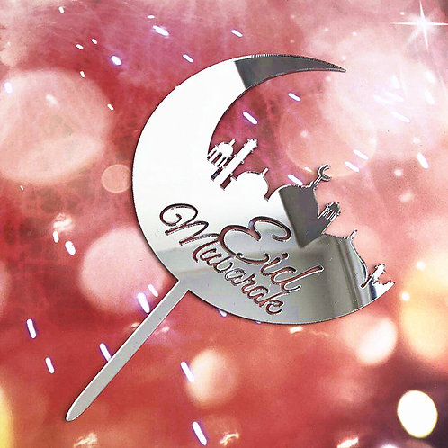 Eid Mubarak Acrylic Cake Topper Decorations (Sliver )