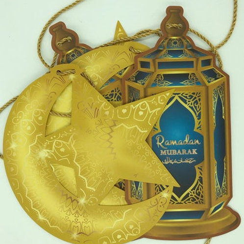 Ramadan Mubarak Hanging Lanterns, Crescent & Star (Blue)