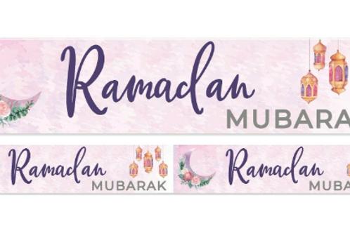 Ramadan Mubarak Double Banner ( Water Colour ) 2021