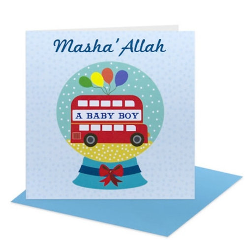 Baby Boy Card - Snow globe