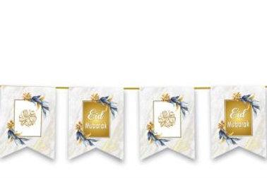 Eid Mubarak Flags (White & Gold Marble)
