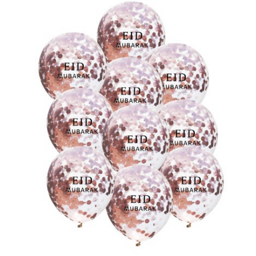 10x Eid Mubarak Confetti  Rose gold Balloon