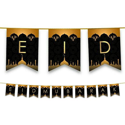Eid Mubarak  -Domes -Lanterns Bunting (Black & Gold) 2021