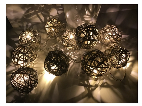 10 XWarm LED Lights 1.6 Meters Rattan Wicker Ball String Fairy Light Grey