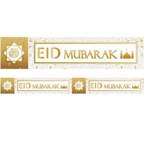 1X Eid Mubarak Banner  White & Gold