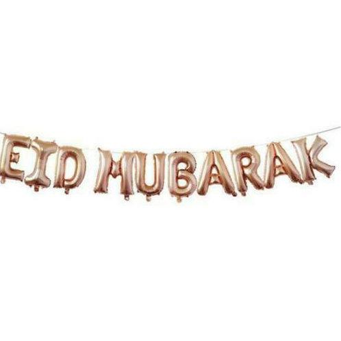 16 Eid Mubarak Foil Letter balloons-Rose