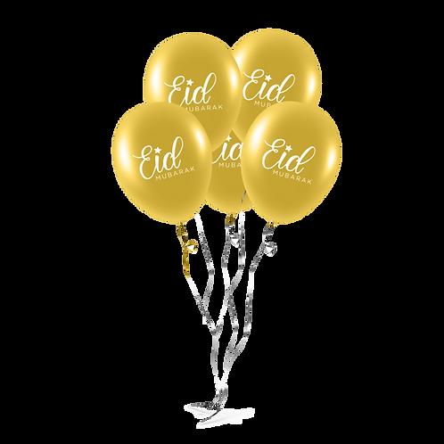 EID Mubarak Balloons (Pack of 10) - Gold