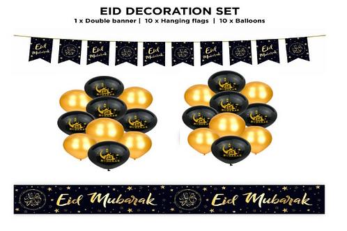 Eid Mubarak 21pcs Black / gold Star Set