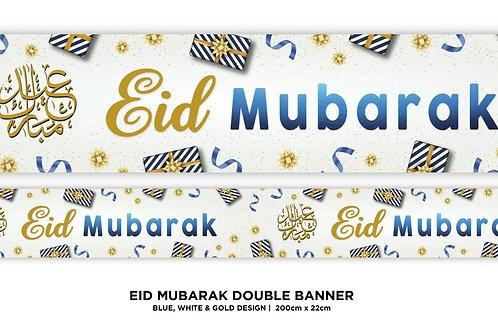 Eid Mubarak Double Banner ( Blue / White) 2021