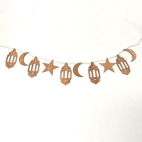 Eid/ Ramadan   Wooden Hanging Lantern Moon Star