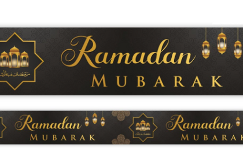 Ramadan  Mubarak  Banner (Black & Gold) 2021