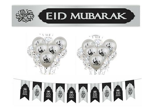 Eid Mubarak 21pcs Blue / Sliver Set