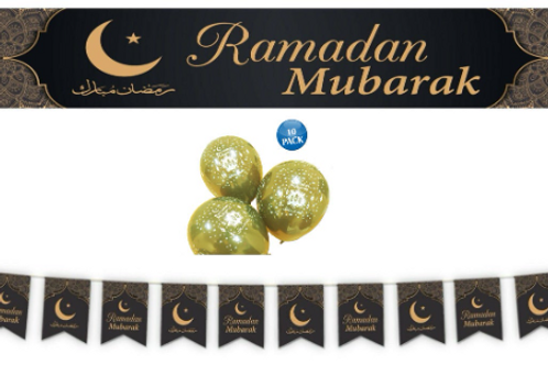 Ramadan Mubarak Decoration Set (Green/Gold)