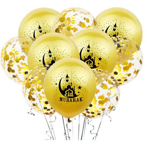 10x  Eid Mubarak Balloon  Gold and Confetti
