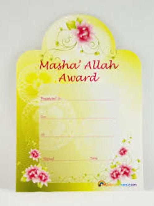 Mashallah flower Award Certificate 10k