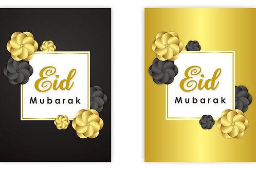 Eid Mubarak Cards (Black & Gold Flowers)