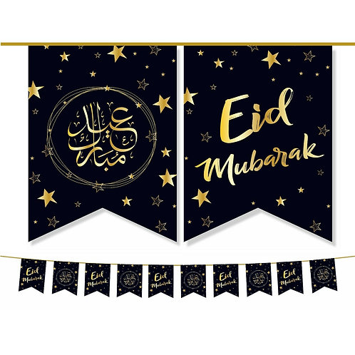 Eid Mubarak Double Bunting ( Black / Gold Star ) 2021