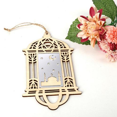 Eid/ Ramadan Mubarak Wooden Hollow Hanging Lantern Plaque Ornament
