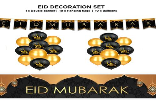 Eid Mubarak Decoration 21 pc Set -  (Black& Gold)